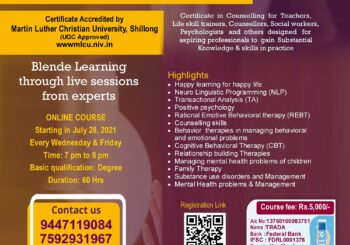 Certificate course in Counselling & Psychotherapy